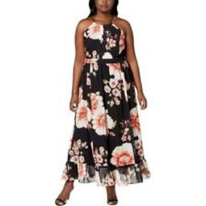 NY Collection Womens Plus Floral Print Maxi Dress